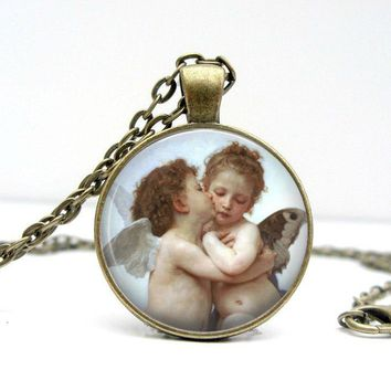 Kissing Angels Necklace - Cherub Necklace - Couples Necklace - Couples Gift