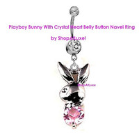 Wanna Play -- Silver Playboy Bunny With Pink Crystal Heart Dangling Navel Belly Ring