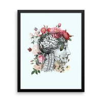 Beautiful Brain Framed Print - retro anatomical brain with floral roses