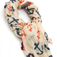 Wind Over Waters Anchor and Stripe Print  Scarf  | Sincerely Sweet Boutique