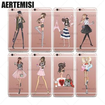 Aertemisi DC Comics Suicide Squad Harley Quinn Fashion Illustration Girls Clear TPU Case Cover for iPhone 5 5s SE 6 6s 7 Plus