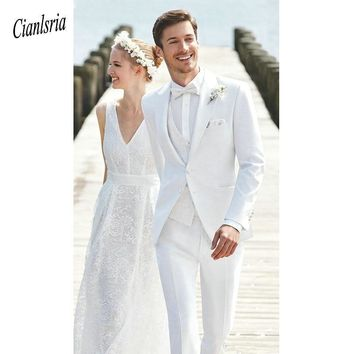 Beach Custom Made Whites Wedding Peaked Lapel Best Men Blazer Groomsmen Groom Wears Prom Casual Tuxedo 3 Piece