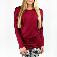 Shades of Autumn Piko Top - Burgundy