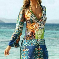 Down To Earth Boho Print Dress