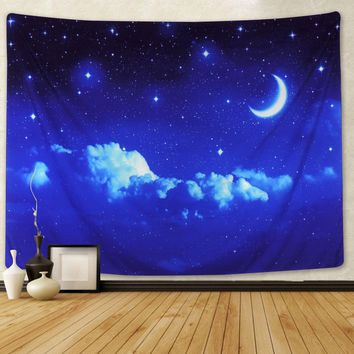Blue Night Sky Bohemian Wall Tapestry
