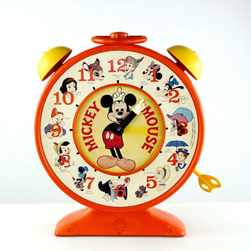 Mickey Mouse Talking Clock Disney Toy Hasbro Romper Room 1970s
