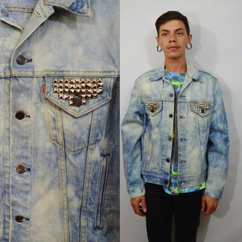 Levis Denim Jacket Acid Wash Studded Mens 42 Med Large 90s Vintage Jacket Distressed Unisex Womens Punk Soft Grunge Hipster Men's Clothing