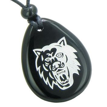 Brave and Protection Lucky Wolf Spiritual Amulet Black Onyx Wish Totem Gem Stone Necklace Pendant