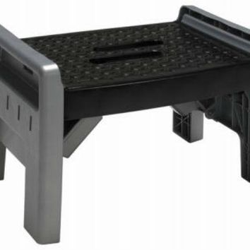 Safety 1St® 11-905-PBL4 One Step Folding Stool, Black & Platinum Color