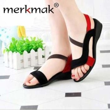 Free Shipping! 2017 black sandals women's shoes open toe wedges genuine leather new style fashion flat heel sandals Macchar Cosplay Catalogue