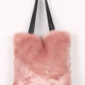 Tote Faux Fur Vegan Leather Straps Bag