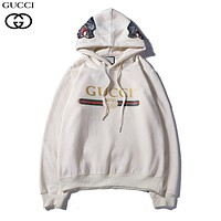 GUCCI 2018 autumn new tide brand wolf head embroidery logo printing couple models loose hooded sweater White