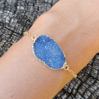Blue Druzy Gold Bracelet Freeform Quartz Crystal Drusy Gold Filled Chain Free Shipping Jewelry