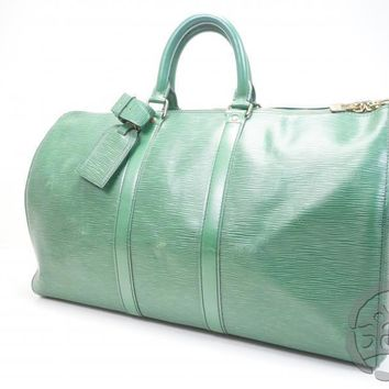 Sale! AUTH PRE-OWNED LOUIS VUITTON EPI GREEN KEEPALL 45 DUFFLE BAG M42974 171335