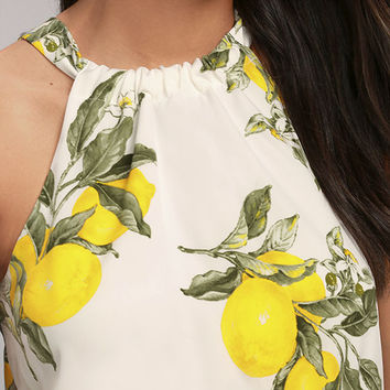 Moon River In the Grove White Lemon Print Crop Top