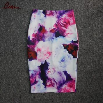 S 3xl New 2016 Fashion Women Slim Skirts Fitted Knee Length Runway Pencil Skirt High Waist Printed Summer Bodycon Wrap Skirts