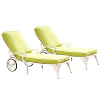 Home Styles Furniture 5552-8312 Biscayne White Chaise Lounge Chairs with Green Apple Cushions, Set of Two