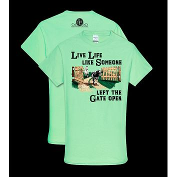 Southern Couture Preppy Left The Gate Open T-Shirt