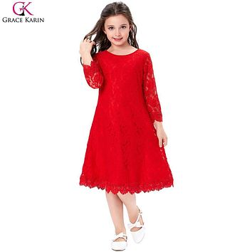 Grace Karin Flower Girl Dresses Toddler Birthday Party Red Pageant Gowns Princess Kids First Communion Long Sleeve Girl Dresses