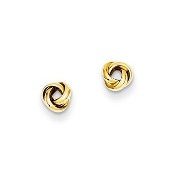5mm Polished Love Knot Earrings in 14k Yellow Gold