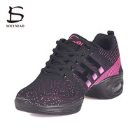 2017 New Women Modern Dance Shoes Flying Weaving Breathable Cozy Jazz Shoes Girl's Fitness Shoes High-quality Sneakers