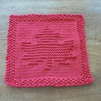 Hand Knit Canadian Red Maple Leaf Cotton Dish Cloth or Wash Cloth