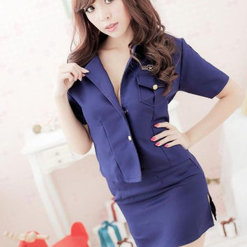 Woman's Sexy Uniform Sexy Policewoman Nightclubs Uniform Temptation Blue Woman Police Role Play Costumes SL1582610