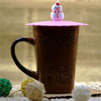 Cute Cartoon Silicone Drink Cup Cover Coffee Tea Suction Seal Lid Cap Silicone Cup Cover Creative Drinkware Cups Saucers Cover