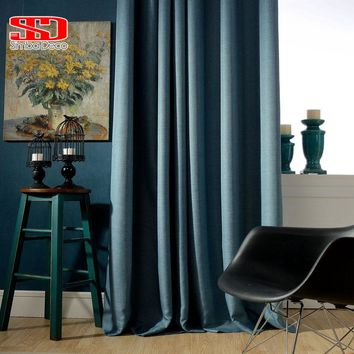 Solid Faux Linen Plain Blackout Curtains For Living Room Modern Style Navy Drapes Window Curtains For Bedroom Shade Custom Size