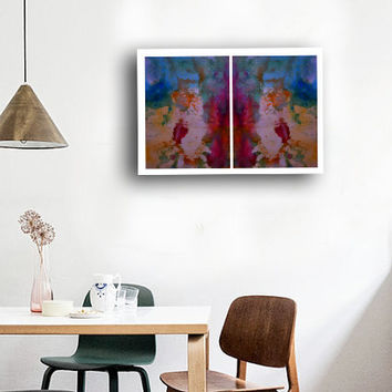 2 Piece Abstract Large Art Prints, Wall & Home Decor, Pink Blue Yellow  Watercolor Paintings,  Vibrant color Colorful, High quality Prints