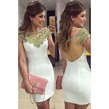 Rhinestone Neckline Gold Lace Embellishment Mini Dress