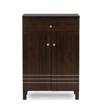 Baxton Studio Felda Dark Brown Modern Shoe Cabinet with 2 Doors and Drawer  Set of 1