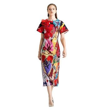 Colorful Spring & Summer O-Neck Leopard Appliques Floral Casual Elegant Midi Dress