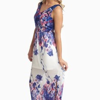 Navy Fuchsia Floral Chiffon Maxi Dress
