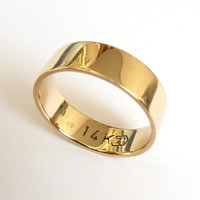 Gold wedding band men and women flat with polished shiny finish 5mm wide