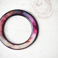 Pink bangle bracelet - Galaxy, Universe, space jewelry - Ombre (BT016)