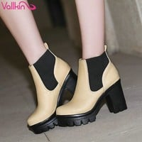 Ankle High Lace-Up Thick Round Toe Thick Square Medium High Heels Women's Winter Boots