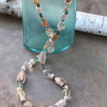 Ancient Carved Shell Necklace 2000 Year Old Indus Valley Shell Beads Aqua Ancient Roman Glass Fluorite and Old Crystals Rare Ocean Jewelry