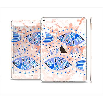 The Abstract White and Blue Fish Fossil Skin Set for the Apple iPad Pro