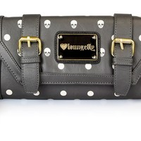 Loungefly Grey Skull With Dots Clutch - Bags