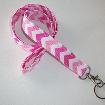 Lanyard  ID Badge Holder - Hot Pink Light Pink Chevron - Lobster clasp and key ring Zig Zag - ZigZag