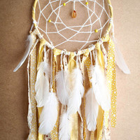Dream Catcher - Soft Dreams - With Yellow Textiles and White Swan Feathers - Boho Home Decor, Nursery Mobile