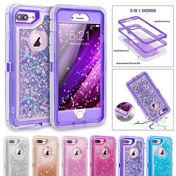 MAYROUND Hybrid 3D Glitter Armor Case for iPhone 8 Plus X Ten Dynamic Quicksand Shockproof Phone Cases Covers for 6S 7 Plus