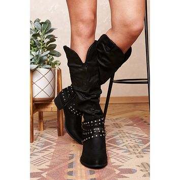 Call You Back Western Style Boots (Black)