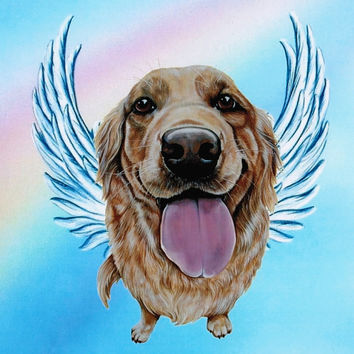 Golden Retriever Angel - Golden Retriever Art -  Print - Dog Angels - Guardian Angels - Pet Memorial - Rainbow Bridge - Weeze Mace - 8x10