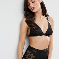 ASOS Lexy Fishnet & Lace Thick Strap Triangle Set at asos.com