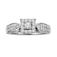 Love Always Round-Cut Diamond Frame Engagement Ring in Platinum Over Silver (1/2-ct. T.W.) (White)