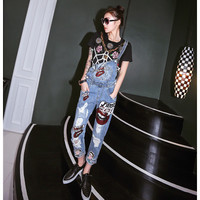 2016 European style New Womens hole Jumpsuit Denim Overalls Casual Skinny Girls Glitter sexy lips Pants Jeans