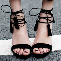 Summer Fashion Crisscross Bandage Zip Sandals Roman Women Heels Shoes