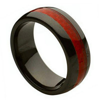 Ceramic with Red Carbon Fiber Inlay Mens/Womens Wedding Band Ring (8mm): Size  10